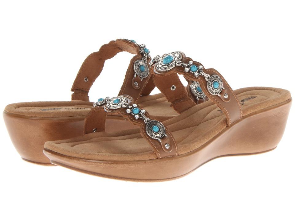 Minnetonka Boca Slide II Saddle Leather/Turquoise Womens Sandals