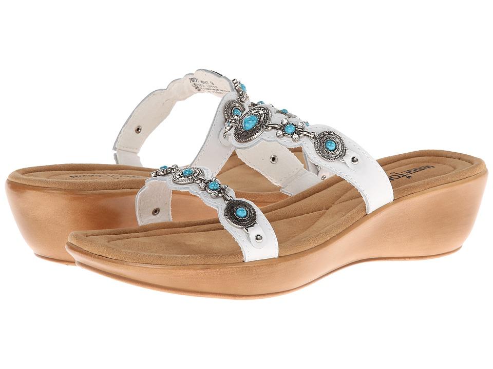 Minnetonka Boca Slide II White Leather/Turquoise Womens Sandals