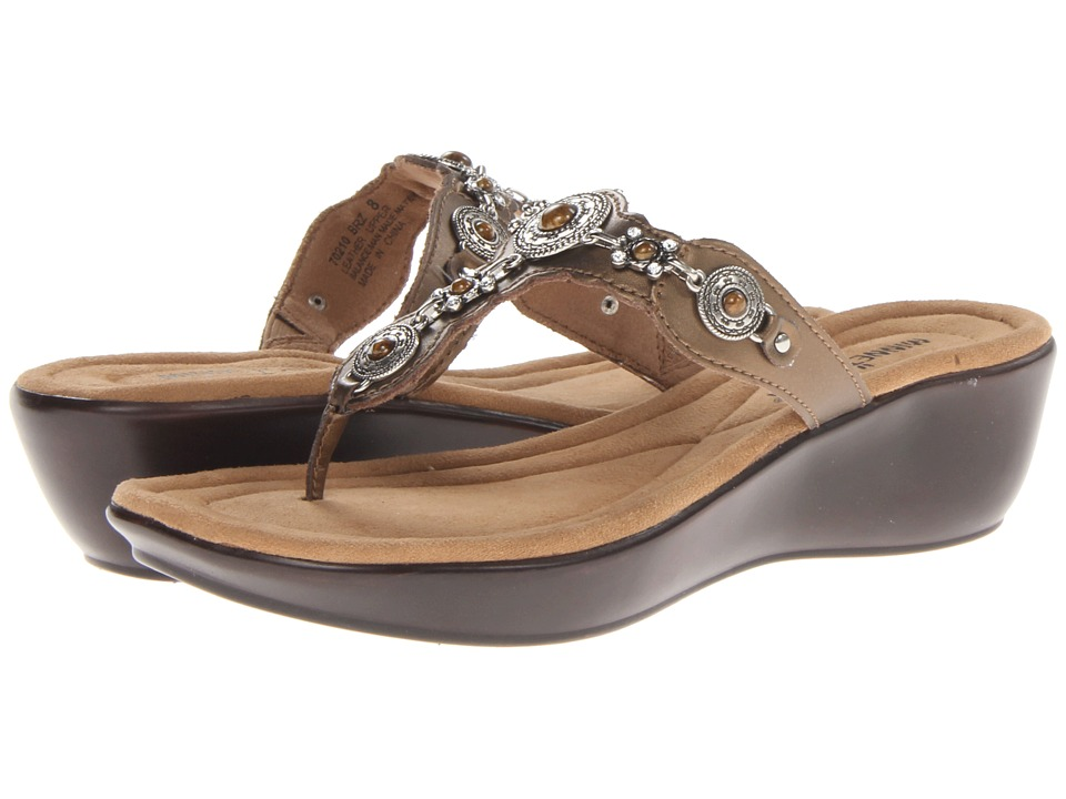 Minnetonka Boca Thong II Bronze Leather/Bronze Womens Sandals