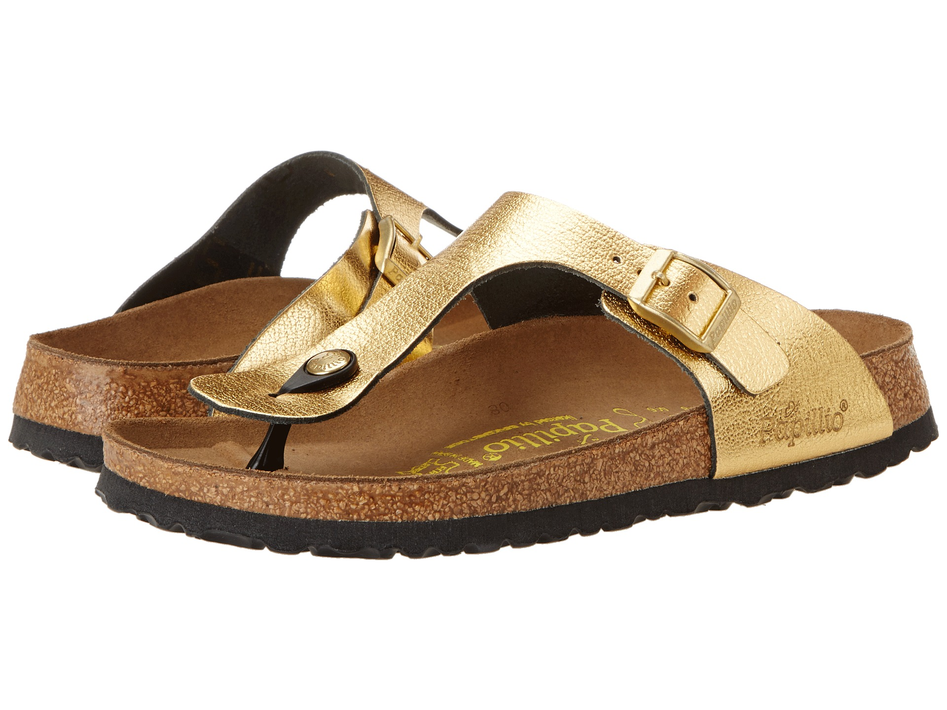 birkenstock gizeh by papillio metallic gold leather