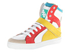 DSQUARED2 - Hockey High Top Trainer (White/Coral/Yellow) - Footwear