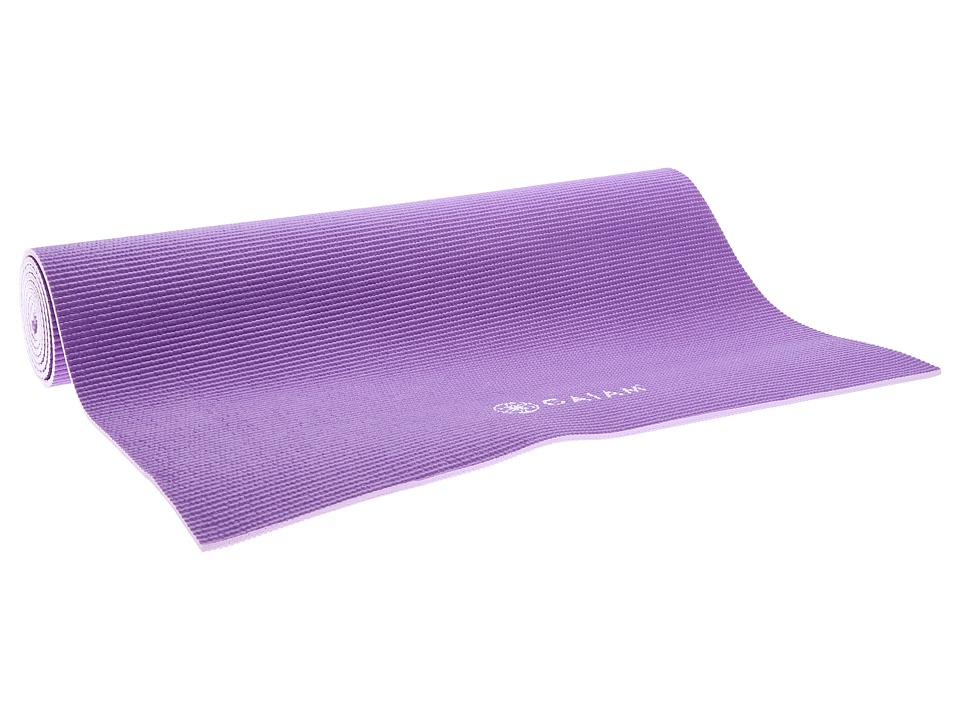 Gaiam - 5mm Premium Solid Plum 2-Color Jam Yoga Mat (Plum) Athletic Sports Equipment