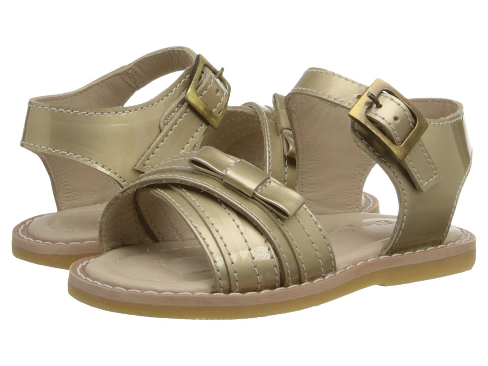 Elephantito Lili Crossed Sandal w/Bow Toddler Gold Girls Shoes