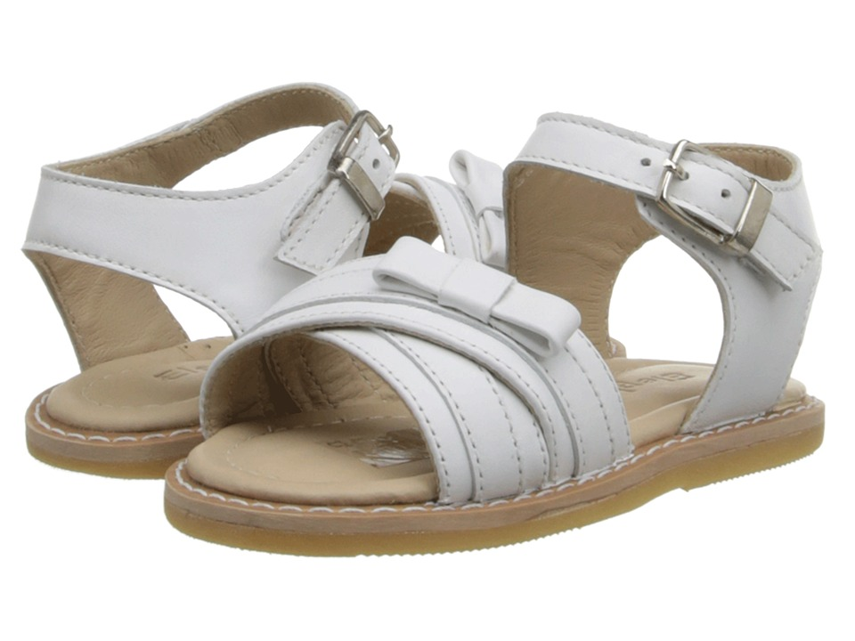 Elephantito Lili Crossed Sandal w/Bow Toddler White Girls Shoes