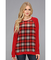 TWO by Vince Camuto - Plaid Pannel Side Zip Top