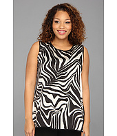 Vince Camuto Plus - Plus Size S/L Large Zebra Shirt Tail Blouse