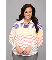 Vince Camuto Plus - Plus Size L/S Button Front Step Stripe Blouse