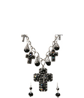 M&F Western - Black Cross Multi Charm Necklace/Earring Set