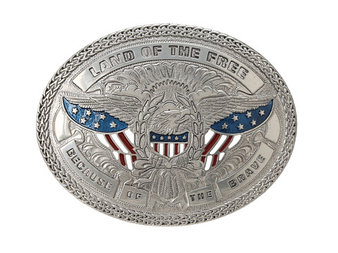 Land Of The Free Silver Belt Buckle