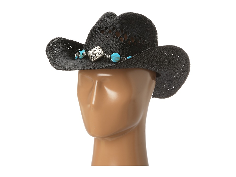 MampF Western 7104601 Diamond/Turquoise/Black Raffia Caps