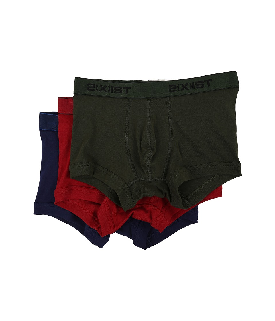 2XIST 3 Pack ESSENTIAL No Show Trunk Mountain View/Cranberry/Medieval Blue Mens Underwear