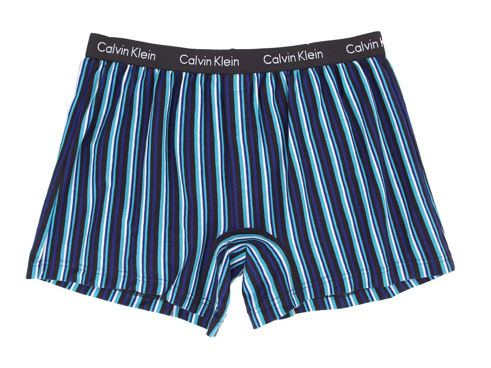 Calvin Klein™ presents a comfy knit boxer in a modern slim fit. Soft cotton jersey boxer boasts a slim fit and shorter length for wear under close-fit pants. Low rise. Signature logo elastic waistband. Snap fly. 100% cotton. Machine wash cold, tumble dry low. Imported. $19
