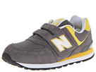 New Balance Kids KV574 Little Kid, Big Kid Grey, Yellow Shoes