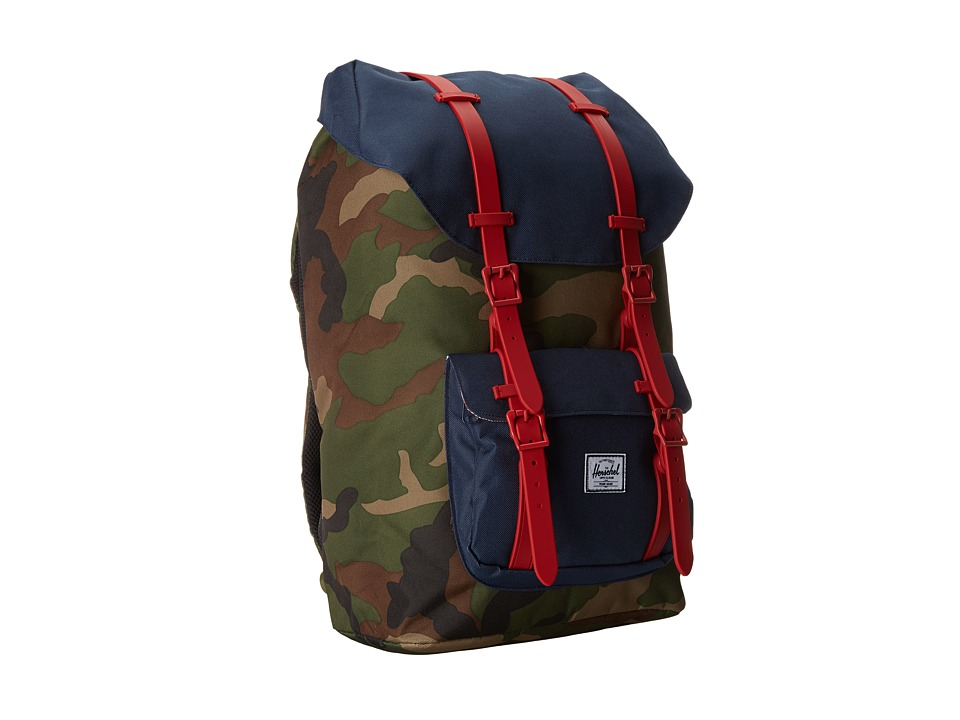 Herschel Supply Co. - Little America (Woodland Camo/Navy/Red Rubber) Backpack Bags