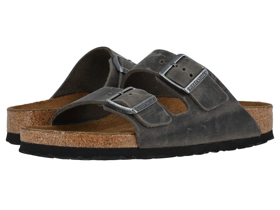 Birkenstock Arizona Soft Footbed Leather (Unisex) (Iron) Sandals