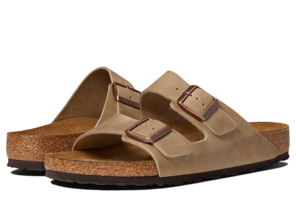 Birkenstock Arizona Soft Footbed Leather (Unisex) (Tobacco) Sandals