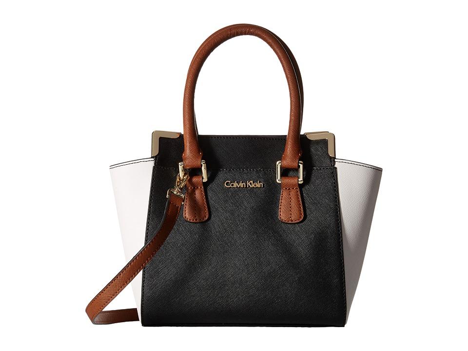 Calvin Klein - On My Corner H3JE12AC (Black/White/Luggage) Satchel Handbags