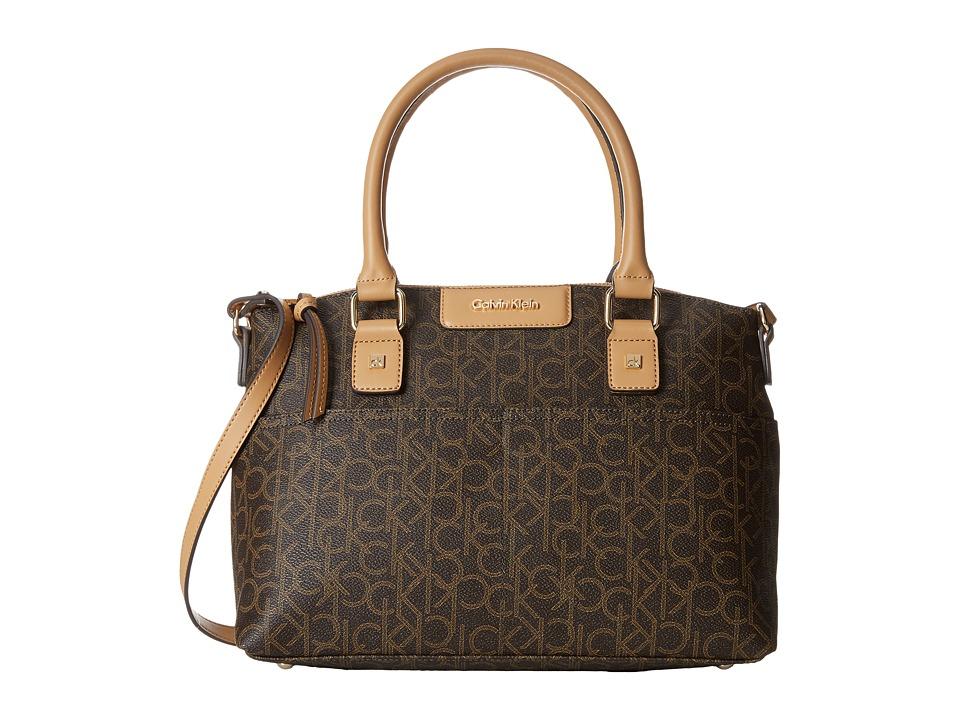 Calvin Klein - Hudson Monogram Satchel (Brown/Khaki/Camel) Satchel Handbags
