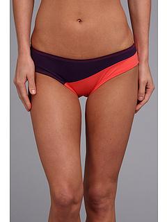 Carve Designs Fisher Bikini Bottom Blackberry with Hot Coral