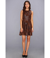 Vince Camuto - S/L Textured Faux Leather Fit & Flare Dress
