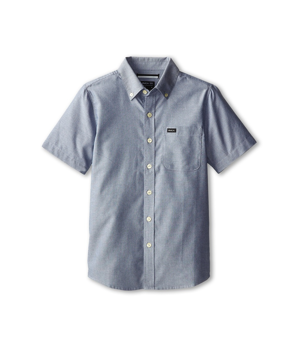 RVCA Kids Thatll Do Oxford S/S Big Kids Distant Blue Boys Short Sleeve Button Up
