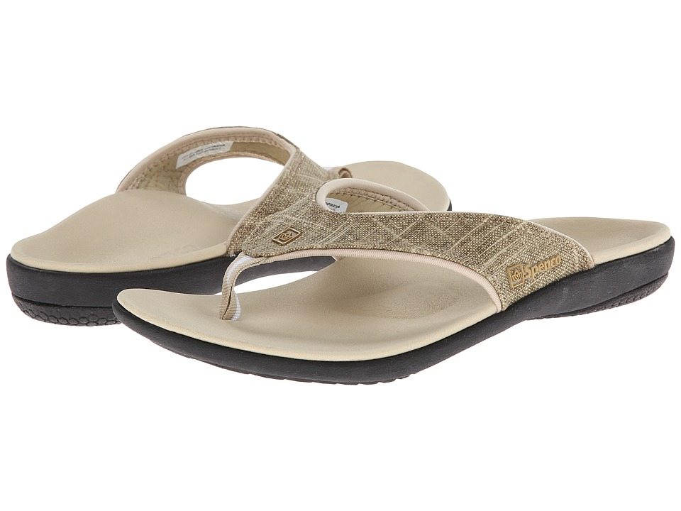 Spenco Yumi Gold Canvas Khaki Gold Womens Toe Open Shoes
