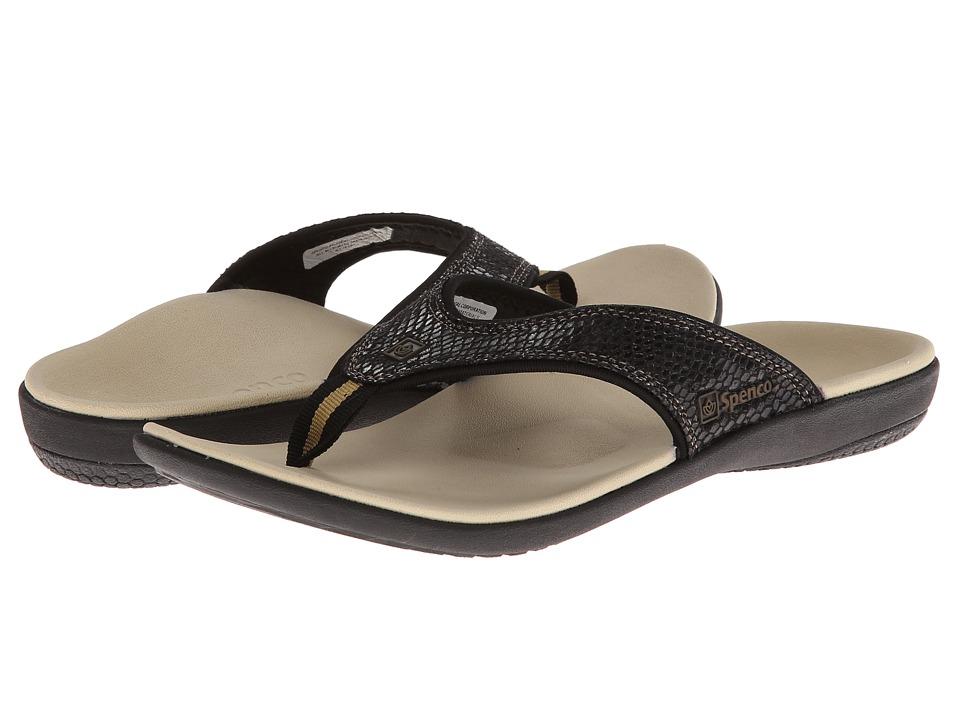 Spenco Yumi Snake (Black Snake Emboss) Women's Toe Open Shoes