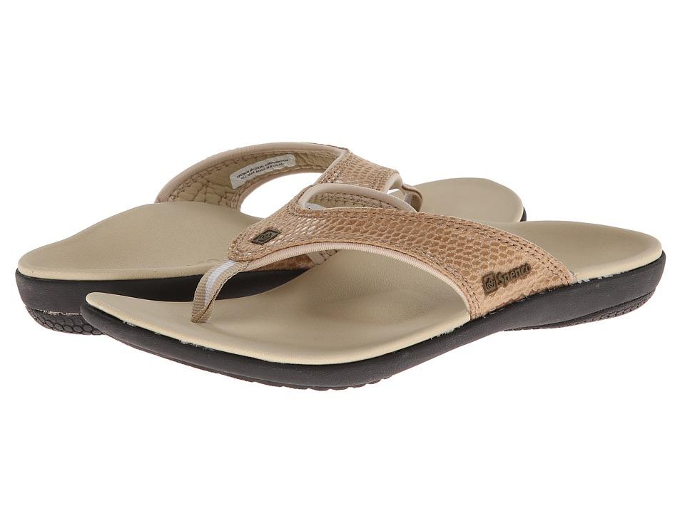 Spenco Yumi Snake (Dark Tan Snake Emboss) Women's Toe Open Shoes
