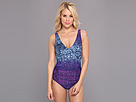 Christin Michaels - Alex One-Piece Swimsuit (Deep Denim Animal) - Apparel<br />