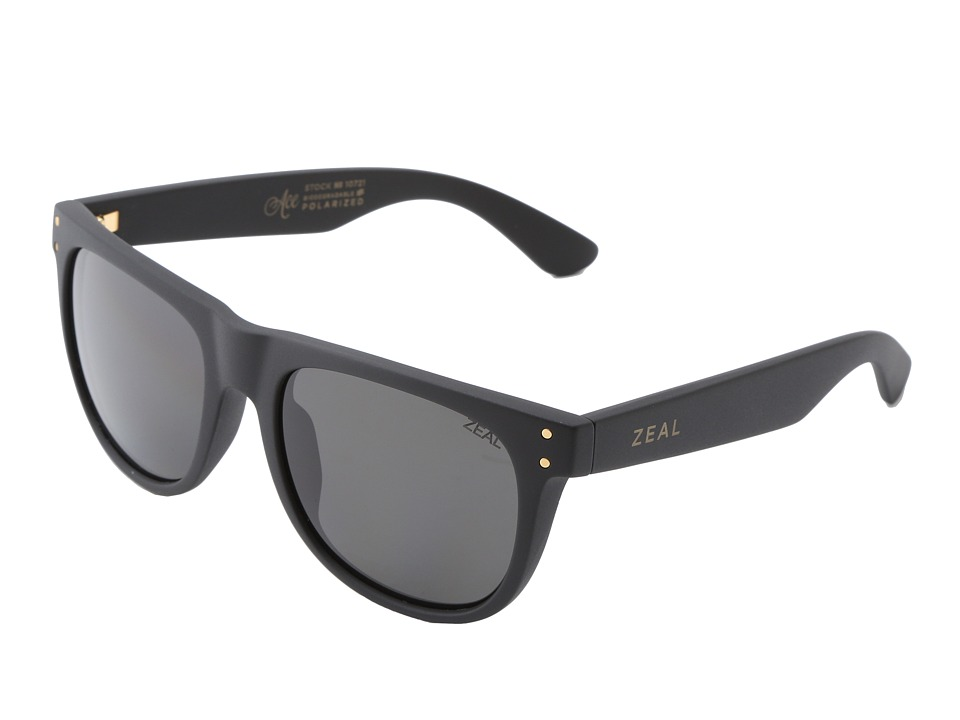 Zeal Optics Ace Black Gold w / Dark Grey Polarized Lens Athletic Performance Sport Sunglasses