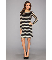 Nine West - Chevron Lace Bateau Neck L/S T-Shirt Dress