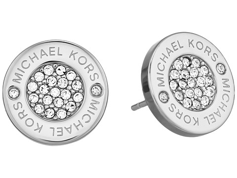 Michael Kors Logo with Clear Pavé Center Stud Earring - Silver/Clear Pavé