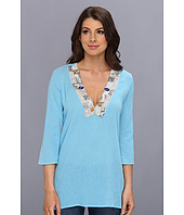 Tbags Los Angeles - Gauze Tunic w/ Beaded Neckline