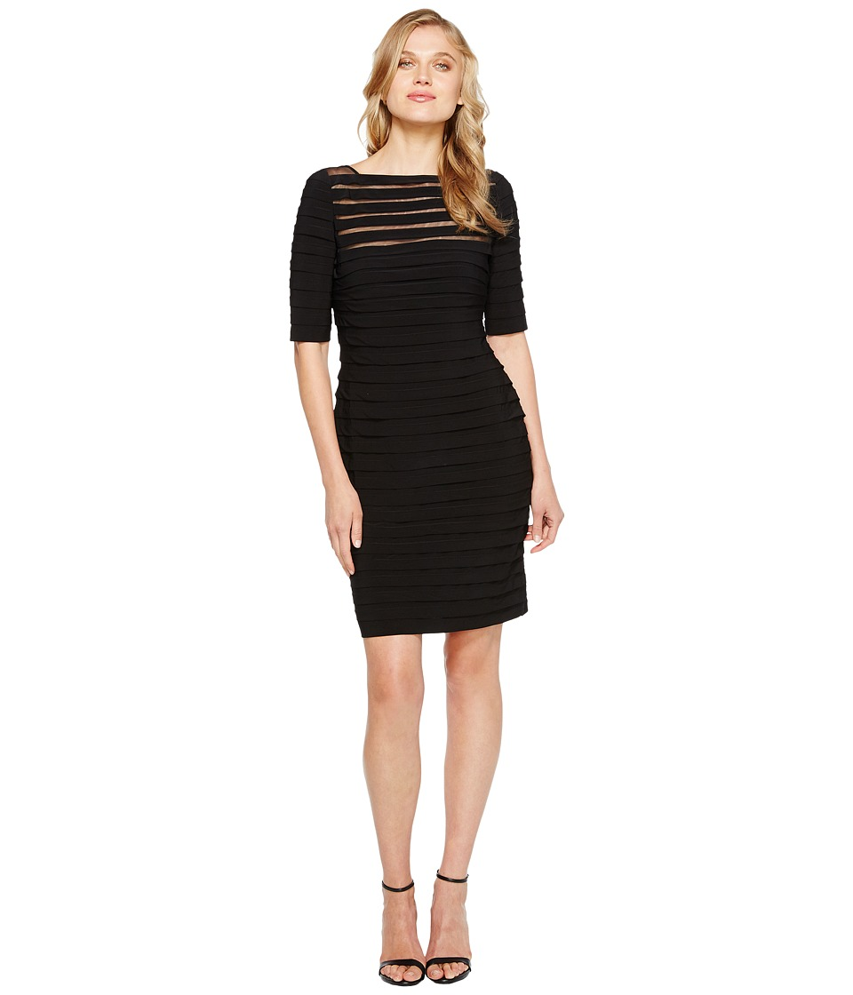 Adrianna Papell - Partial Tuck Long Sleeve Dress (Black) Womens Dress