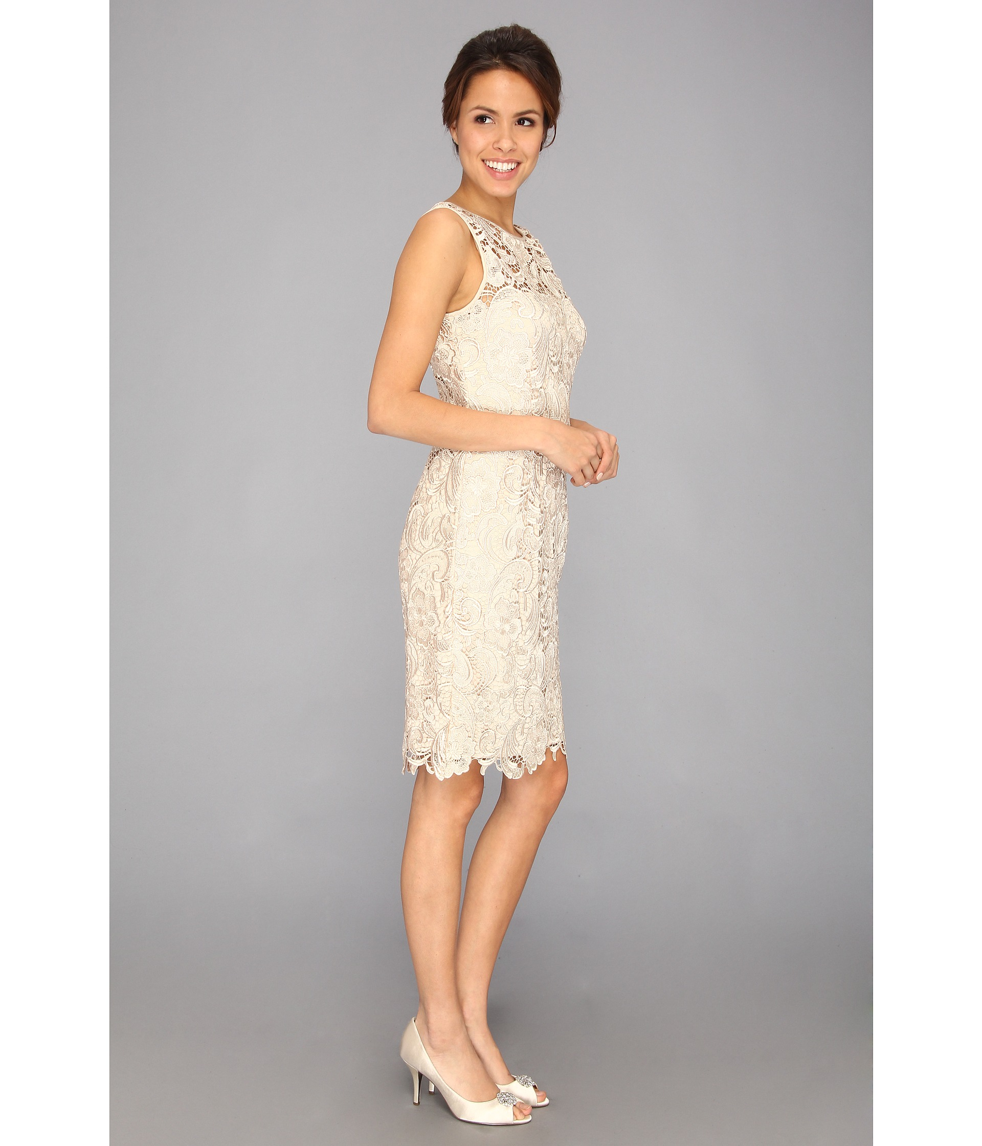 Adrianna Papell Illusion Neck Lace Dress - Zappos.com Free ...