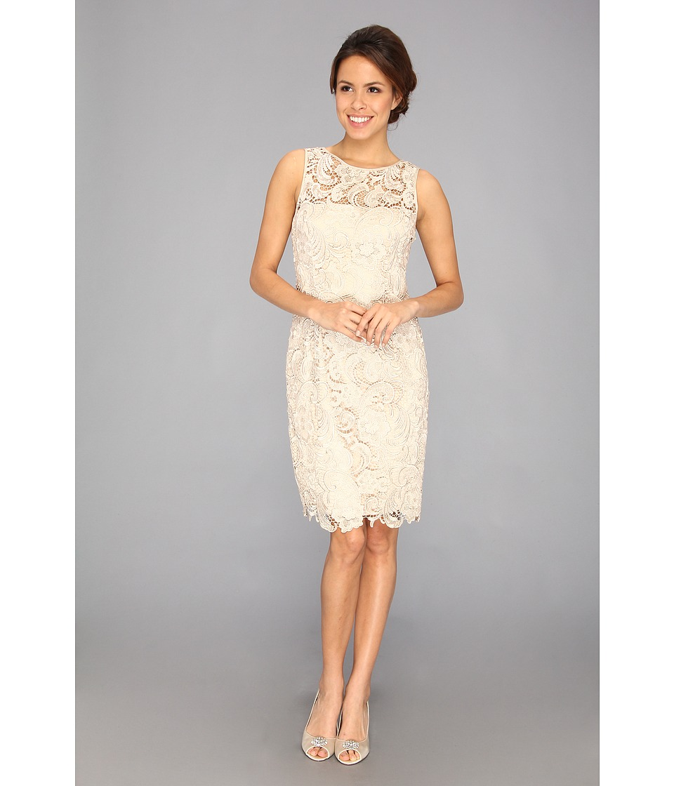 Adrianna Papell - Illusion Neck Lace Dress (Champagne) Womens Dress