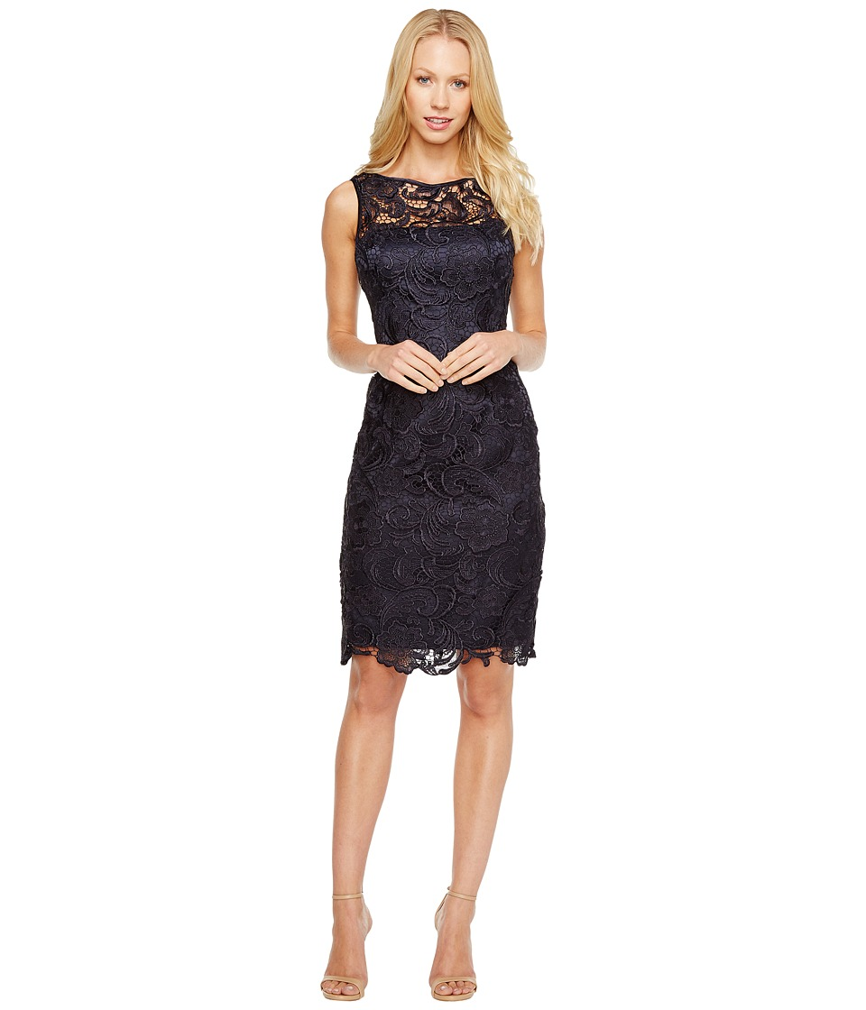 Adrianna Papell Illusion Neck Lace Dress (Navy) Women's D...