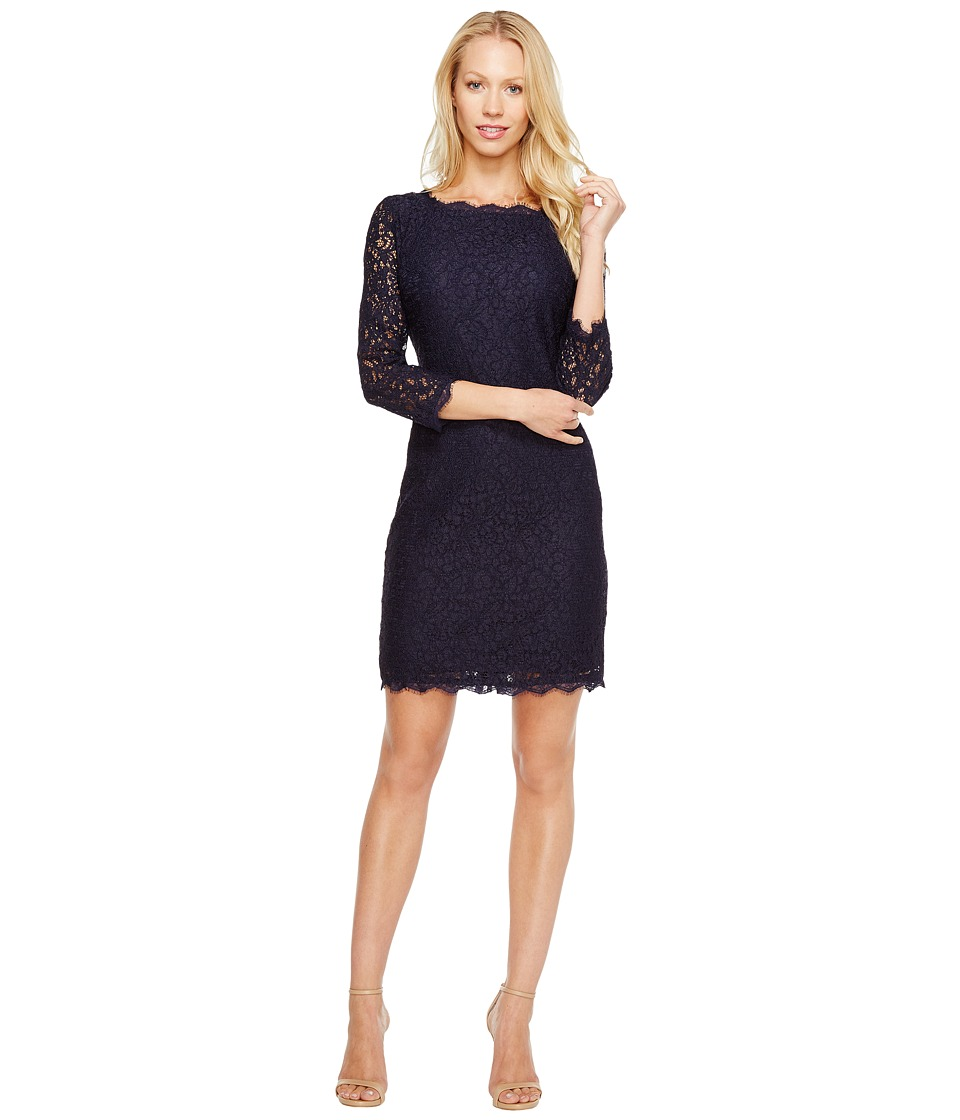 Adrianna Papell - L/S Lace Dress (Navy) Womens Dress