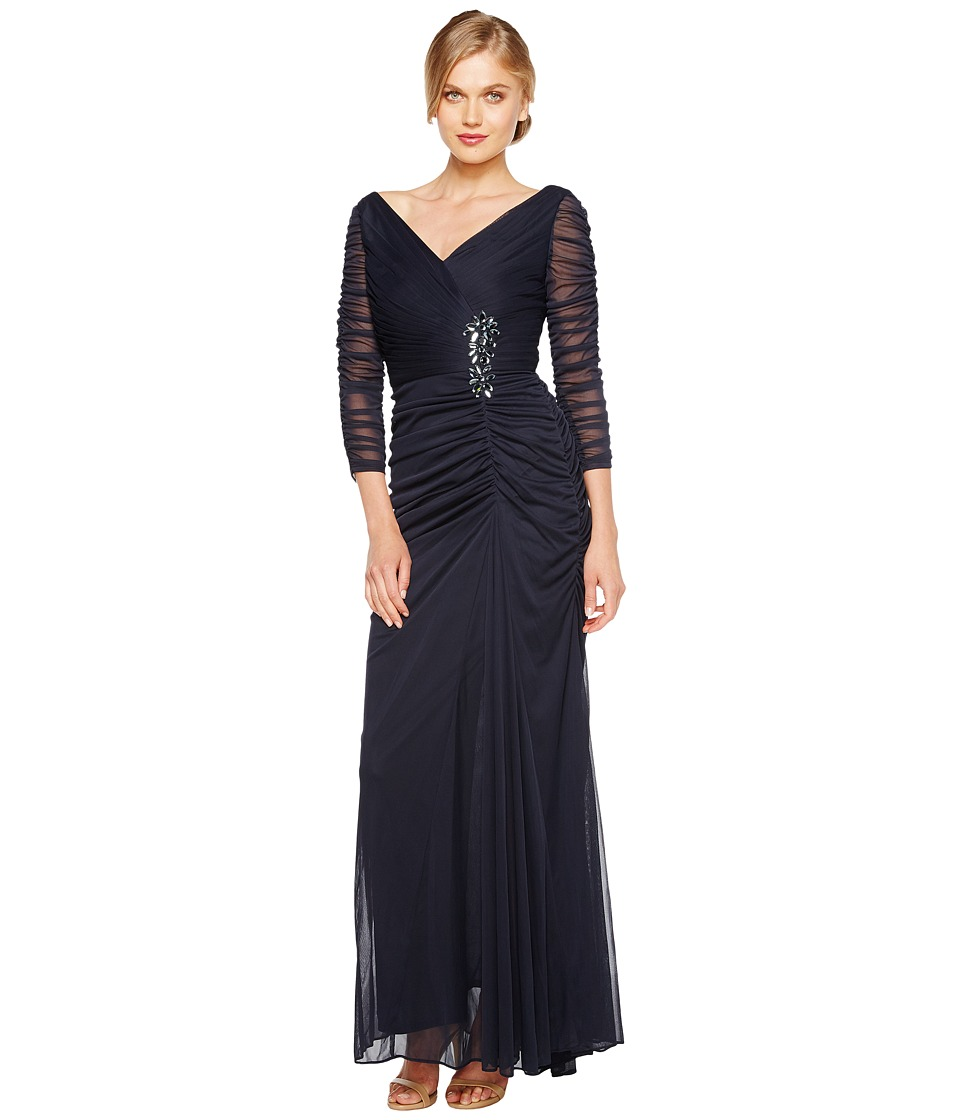 Adrianna Papell Drape Covered Gown Ink Womens Dress