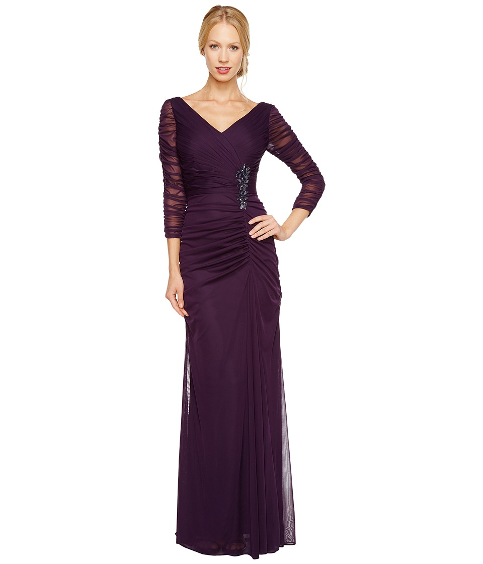 Adrianna Papell Drape Covered Gown Aubergine Womens Dress
