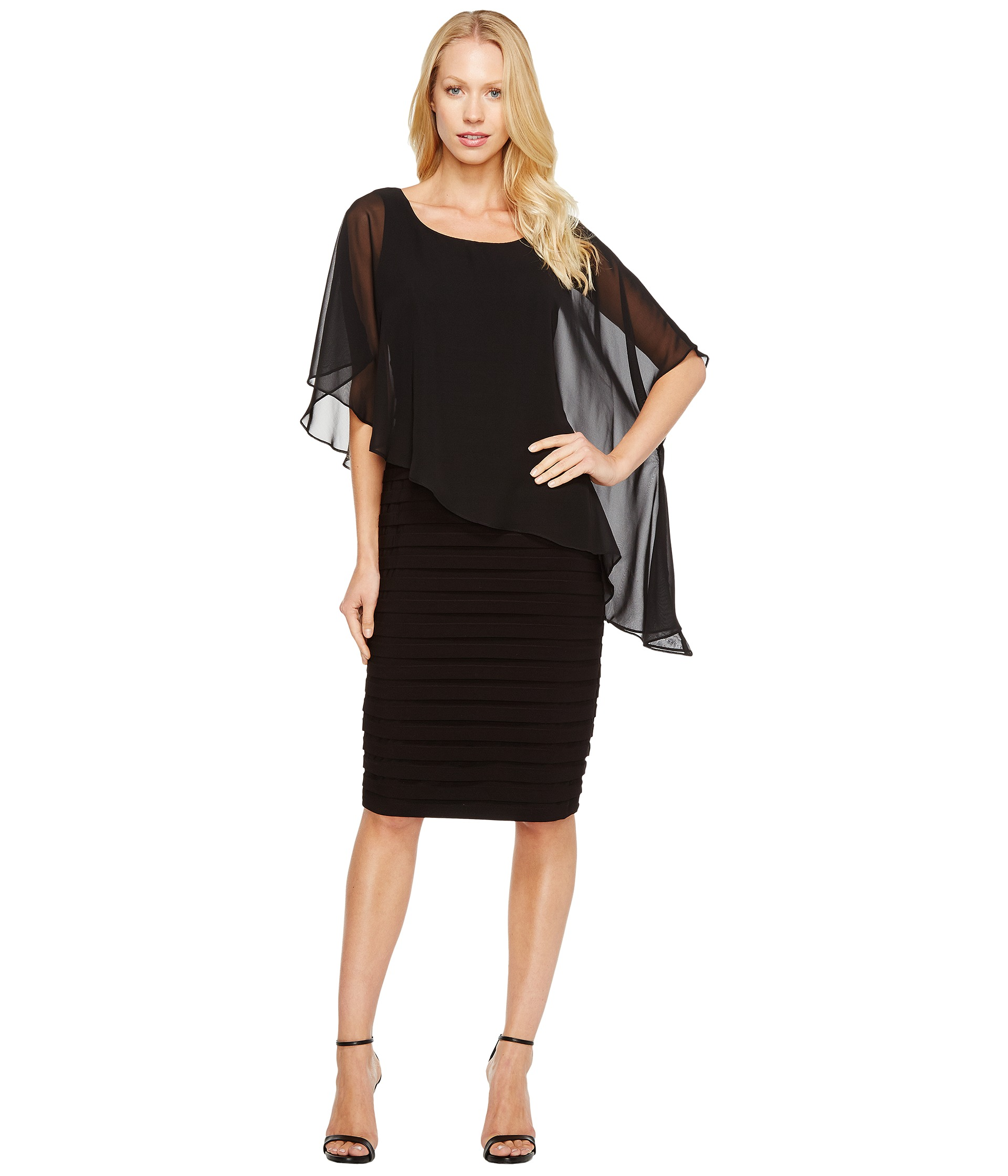 Adrianna papell chiffon drape overlay with banding at for Wedding guest dresses for 40 year olds
