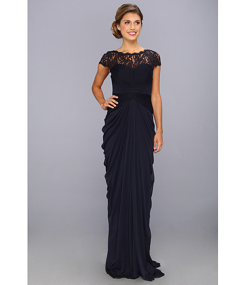 Adrianna Papell Lace Bodice On Draped Skirt