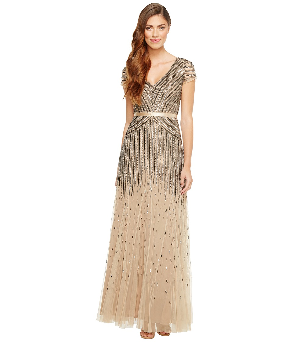 Adrianna Papell - Cap Sleeve Beaded Gown