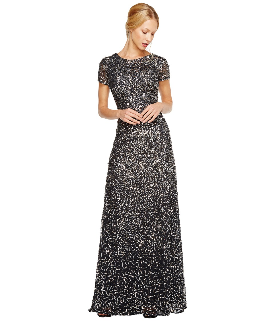 Adrianna Papell - Cap Sleeve Scoop Back Beaded Down Gown (Charcoal) Womens Dress