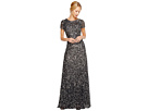 Adrianna Papell Cap Sleeve Scoop Back Beaded Down Gown