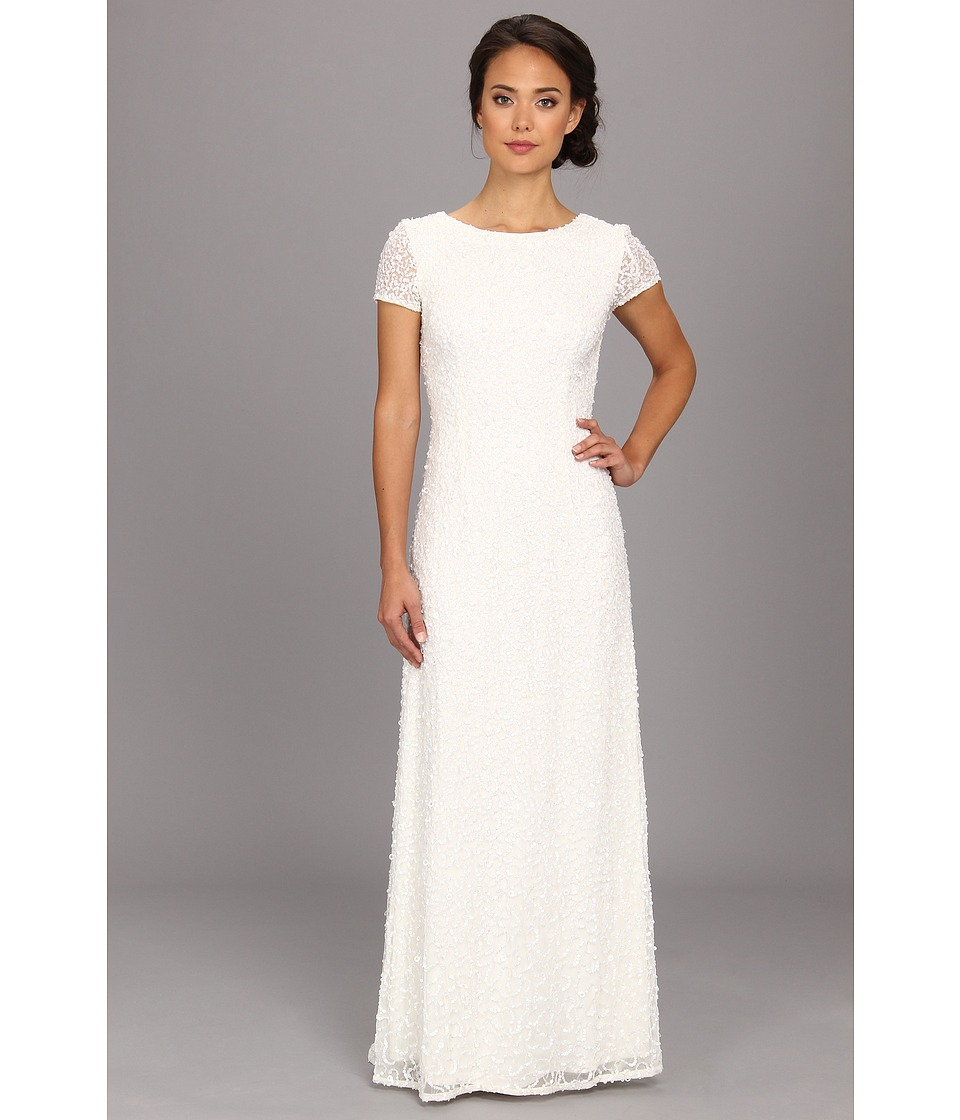 Adrianna Papell Cap Sleeve Scoop Back Beaded Down Dress Ivory Womens Dress