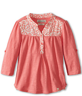 Lucky Brand Kids - Girls' Woven Trim Henley (Little Kids)