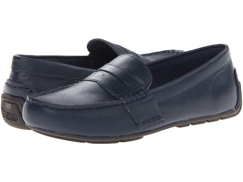 Polo Ralph Lauren Kids Telly Big Kid Navy Leather Boys Shoes