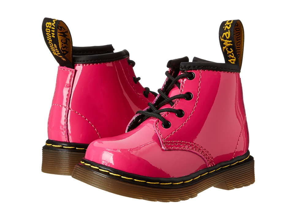 Dr. Martens Kids Collection Brooklee B 4 Eye Lace Boot Toddler Hot Pink Patent Lamper Girls Shoes