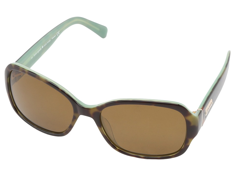 Kate Spade New York - Akira (Tortoise Mint/Dark Brown Polarized) Plastic Frame Fashion Sunglasses